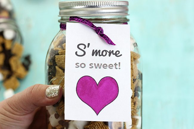 Give someone S'mores in a jar for Valentine's Day with a free printable that reads S'more So Sweet!