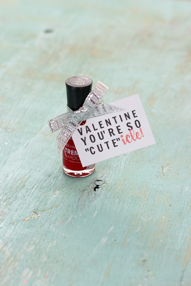 "Candy free Valentine's Day Gift Idea. ""Valentine, You're so CUTEicle for gifting a bottle of nail polish. Get this free Valentine's Day Printable."