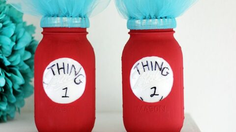 Thing One and Thing Two Dr. Seuss Mason Jars
