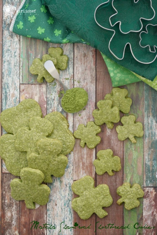 Matcha Shamrock Shortbread Cookies all roads lead to the kitchen