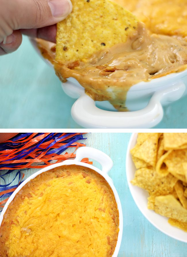 Oozy cheesy bean dip recipe. So easy, you won't believe you haven't tried it yet.