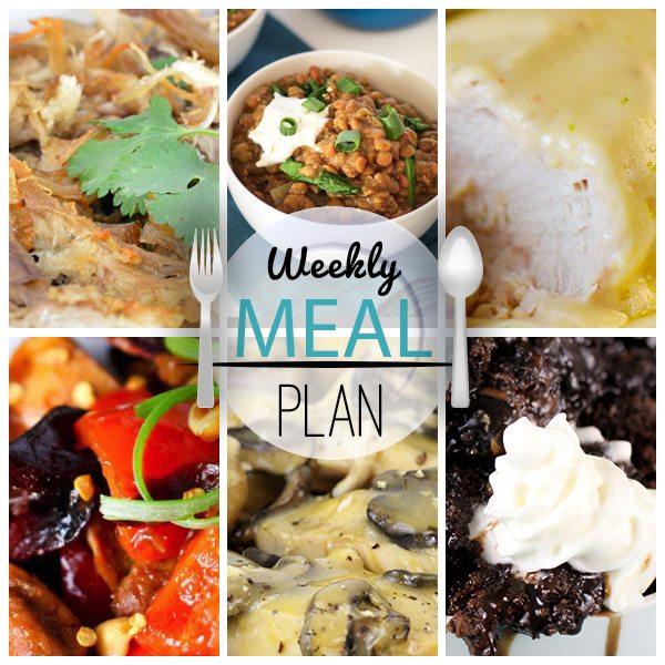 Trying to use your slow cooker more. Looky here. Get this weekly slow cooker meal plan to serve up a variety of delicious dinner options all week!