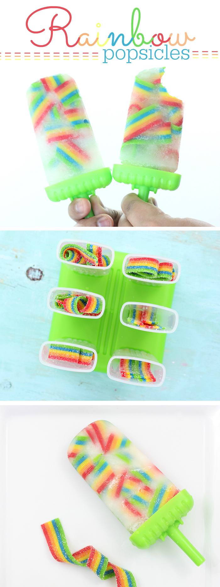 Rainbow Popsicles. These taste SO good! So easy to make too. Just use Airheads Rainbow Candy for the cutest ice pop popsicles ever!