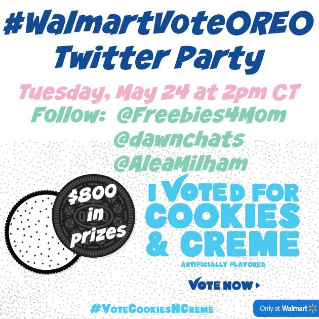 RSVP for the #WalmartVoteOREO Twitter Party on Tuesday, May 24, 2016 at 1pm ET. Fun and prizes! Twitter Party.