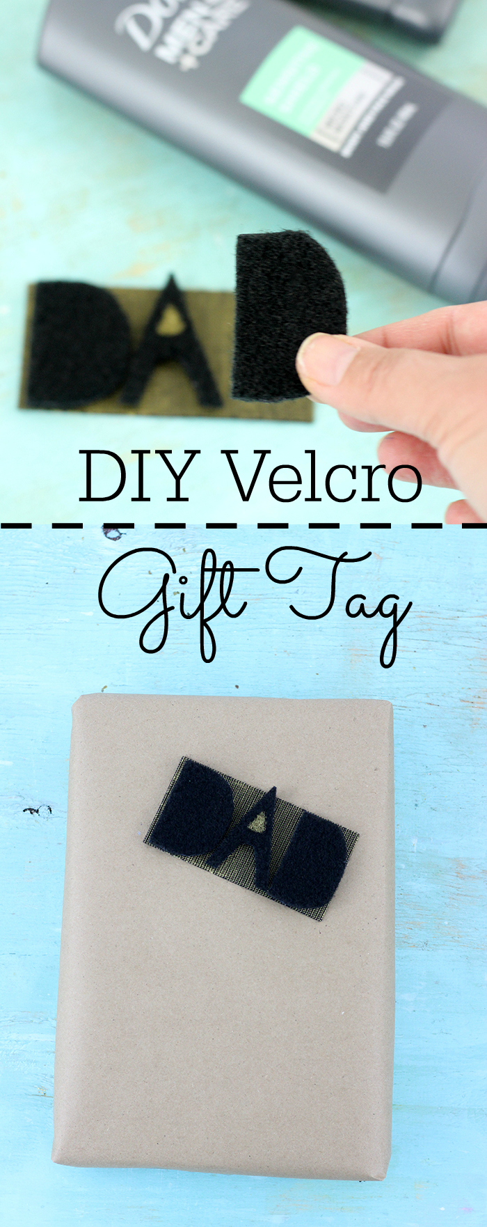"""Care it forward for Father's Day with this super cool DIY Velcro Gift Tag that reads """"DAD"""" + get more perfect give ideas for him."""