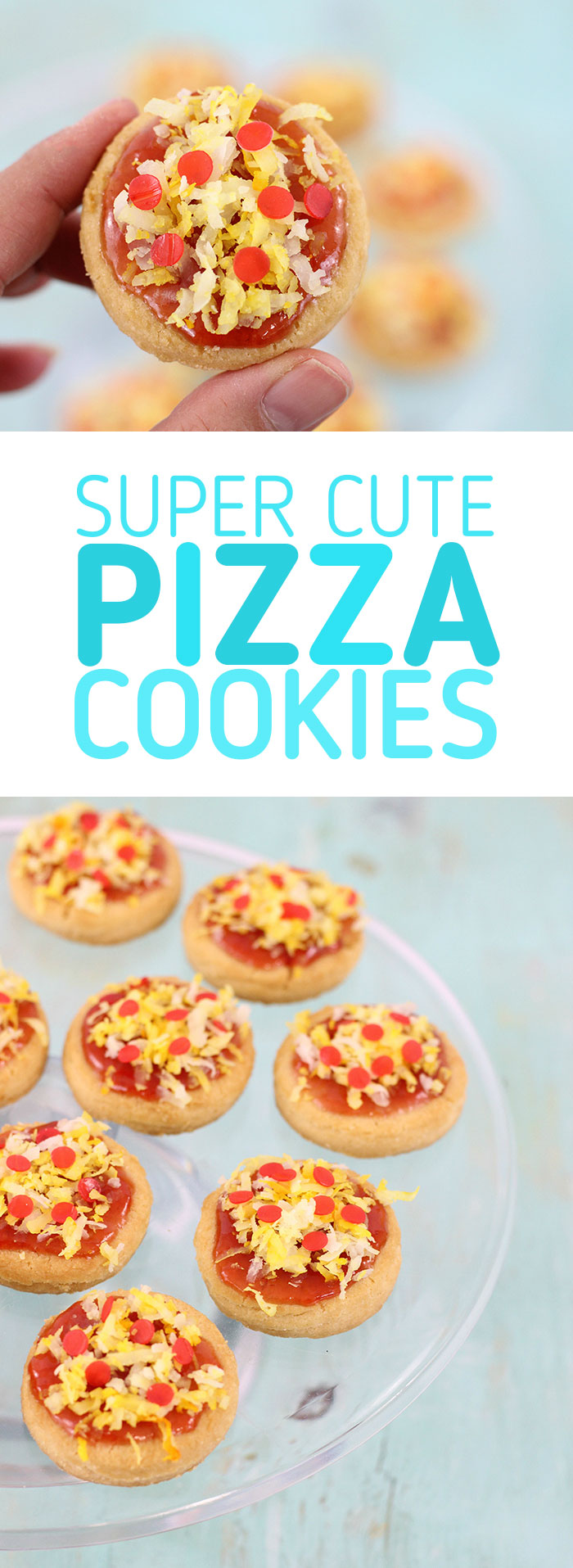 Pizza Cookies! This pizza cookie recipe is so easy using store bought cookies, jam, coconut. Not only are they adorable, but they are delicious too. Perfect for Teenage Mutant Ninja Turtle Themed Parties!