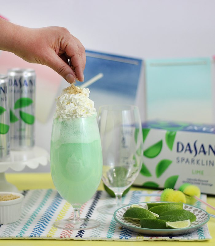 Lime Sherbet Float, perfect for a quick and refreshing treat for summer.