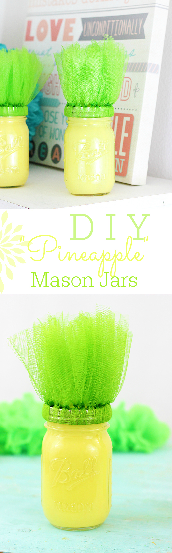 DIY Pineapple Mason Jars are so easy to make with paint and another surprising household product!