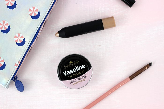 Sassy summer find! Vaseline has a limited time only PINK BUBBLY flavored lip tin. I seriously can't get enough, and have to keep myself from licking it all off once I put some on.