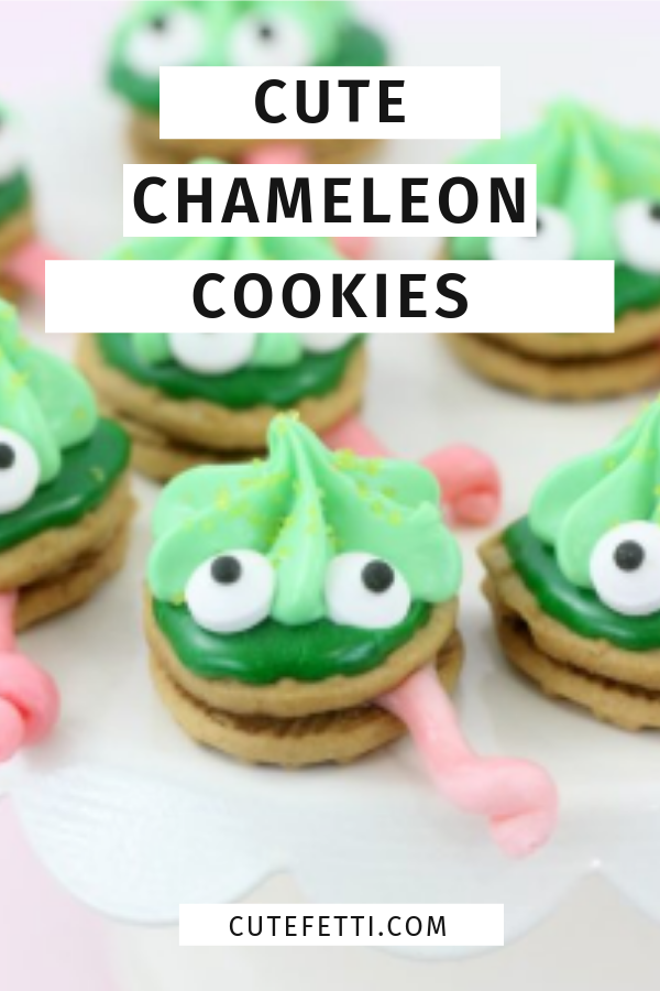 Chameleon cookies. So fun and cute. Perfect for reptile or jungle theme parties.