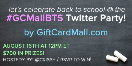 TWITTER PARTY!! Let's celebrate #BackToSchool with @GCMall! #GCMallBTS 8/16 12pm ET