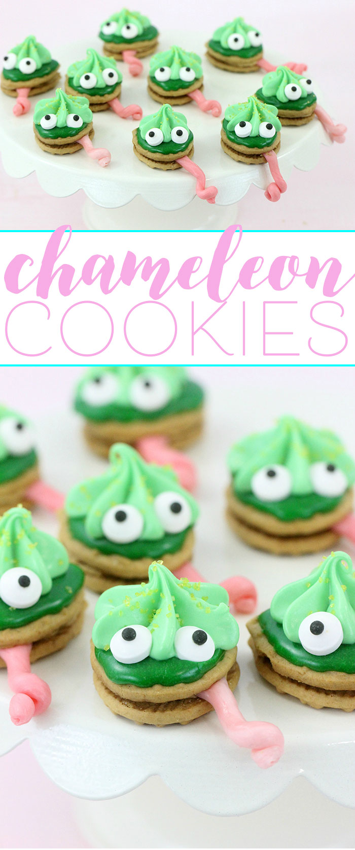 Chameleon cookies, perfect for themed parties! Easy to make with only a handful of easy to find ingredients.