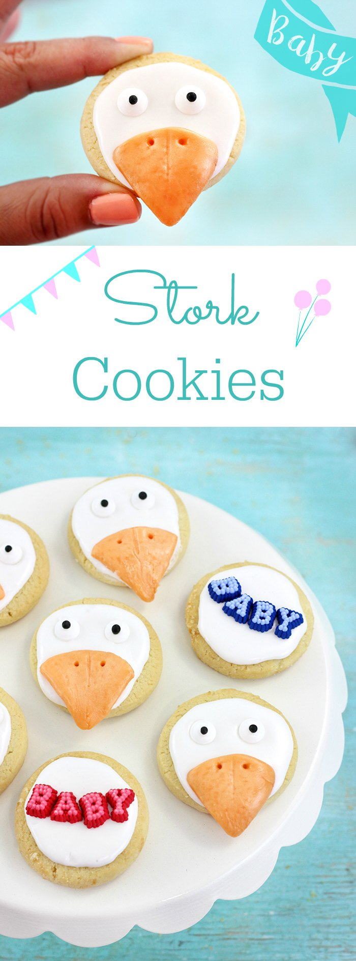 Stork Cookies. So cute! Perfect for celebrating the upcoming STORKS movie or for baby shower treats.