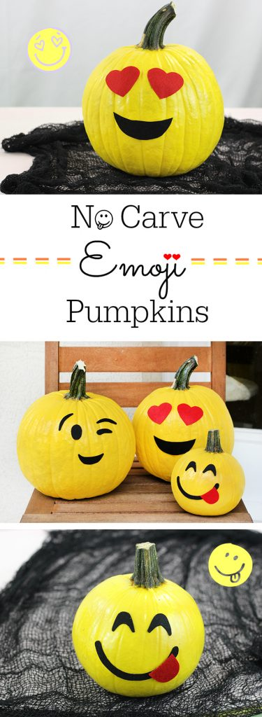 No Carve Emoji Pumpkins. Kid friendly pumpkins that are SO fun and so easy to make for Halloween.