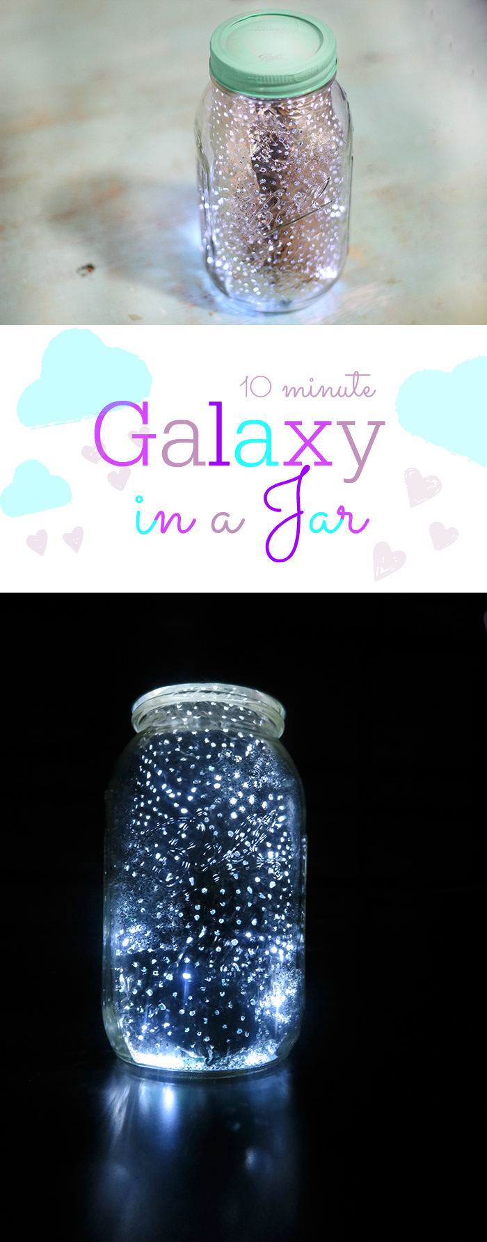 Galaxy in a jar in just 10 minutes. No paint required. This is so much fun.