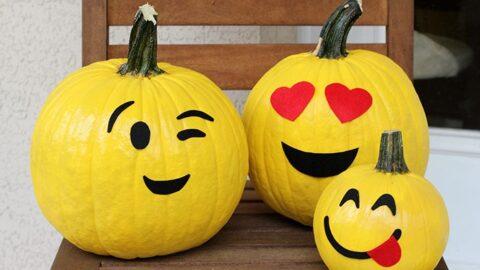No Carve Emoji Pumpkins