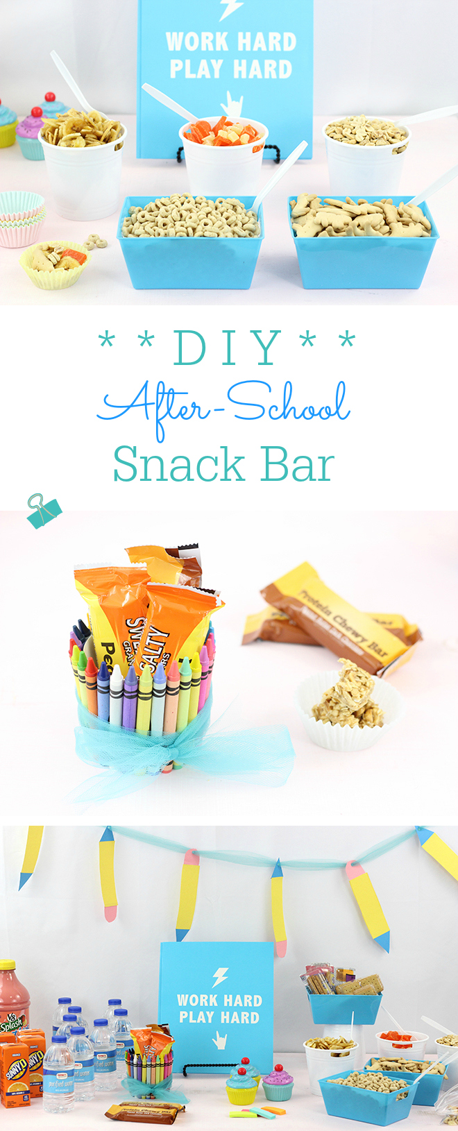 DIY After School Snack Bar. Snack Station for kids. Cute DIY Ideas and simple snack ideas. The trail mix bar is such a COOL idea!