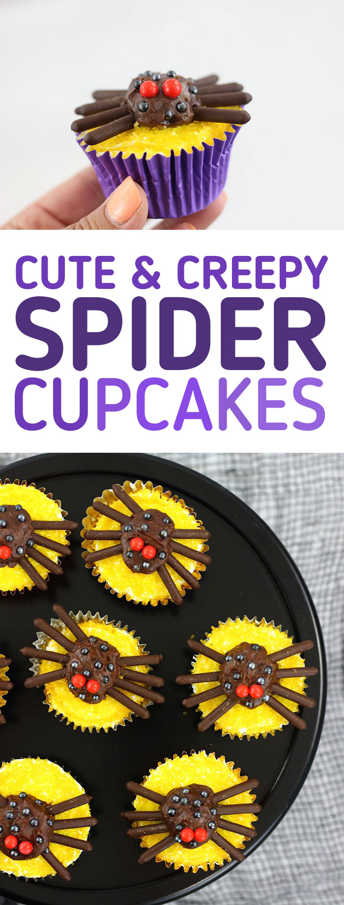 Spider Cupcakes. Totally cute and spooky for your Halloween parties. Super EASY.