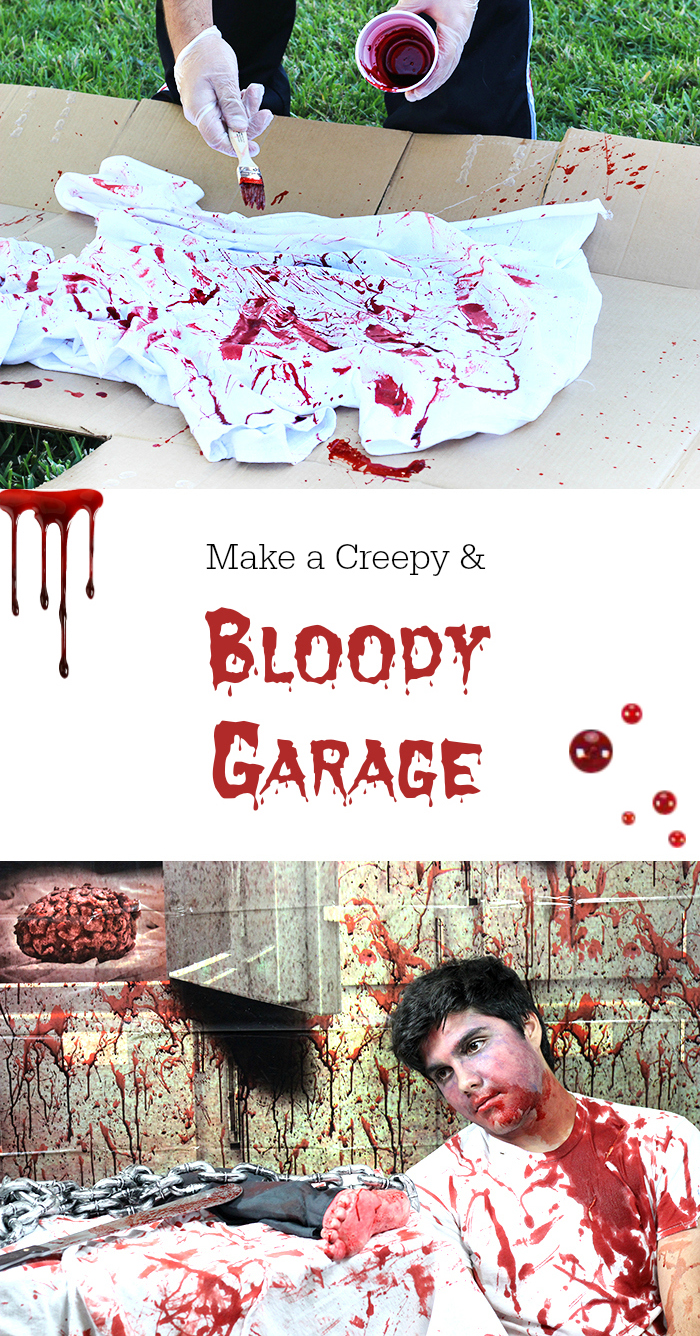 Bloody Halloween Garage with our creepy finds. From bloody props to awesome creepy backdrops.