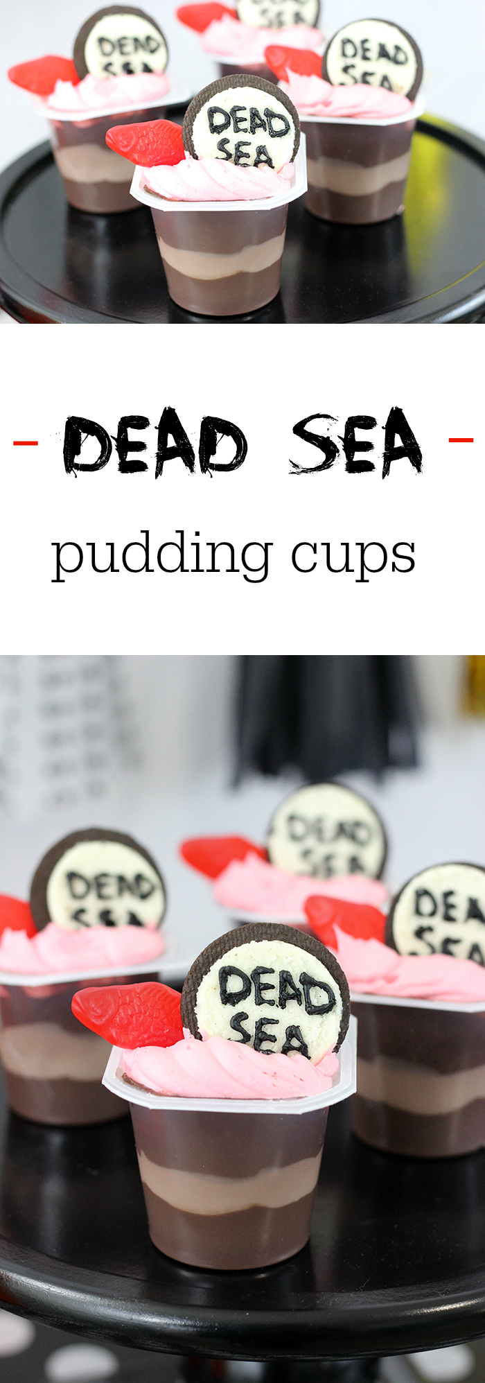 Creepy Halloween Party Treats. From haunted pudding cups, to blood spattered OREO cookies and more. Make Dead Sea Pudding Cups with OREO, Swedish Fish and Snack Pack Pudding Cups.
