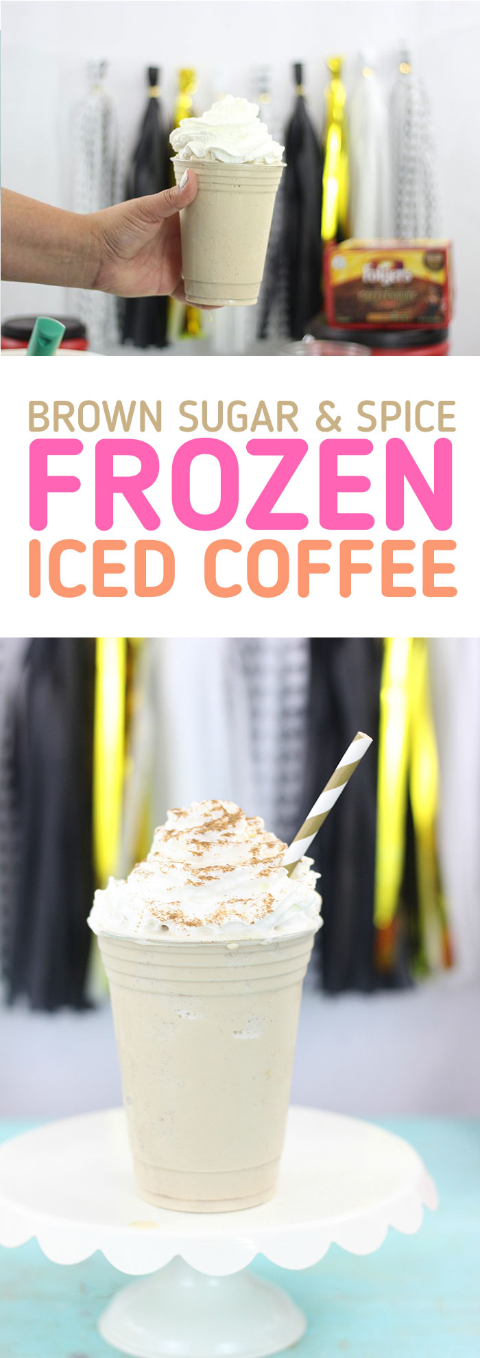 Frozen Iced Coffee with Brown Sugar and Spice. SO good for a refreshing treat.