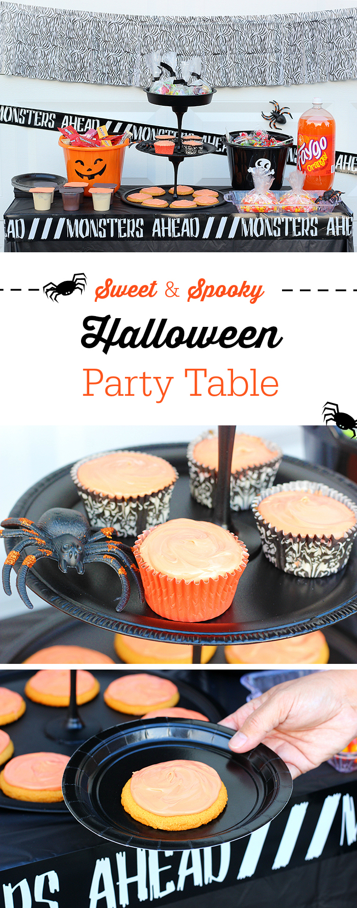 Halloween Party Table that's Sweet and Spooky. Put together an entire party on a tiny budget with easy shortcuts and DIY ideas.