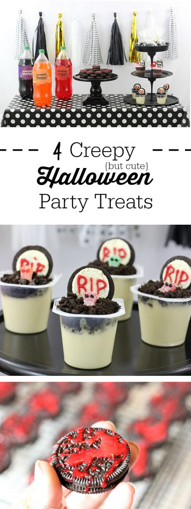 Creepy Halloween Party Treats. From haunted pudding cups, to blood spattered OREO cookies and more. Make Dead Sea Pudding Cups with OREO, Sour Patch Kids and Snack Pack Pudding Cups.