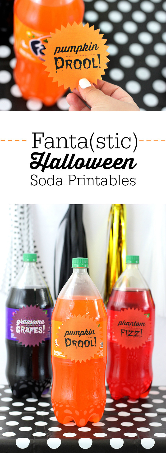 Creepy Halloween Party Treats. From haunted pudding cups, to blood spattered OREO cookies and more. Get fun Fanta Soda Bottle Printables to make them extra spooky.
