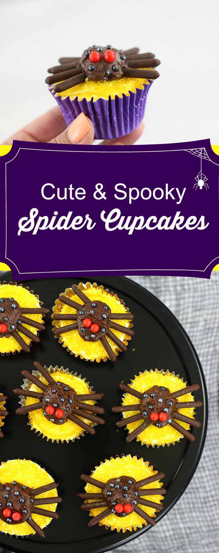 Spider Cupcakes that are cute and spooky. So easy to make and inspired by Halloween cupcakes at Disney World.