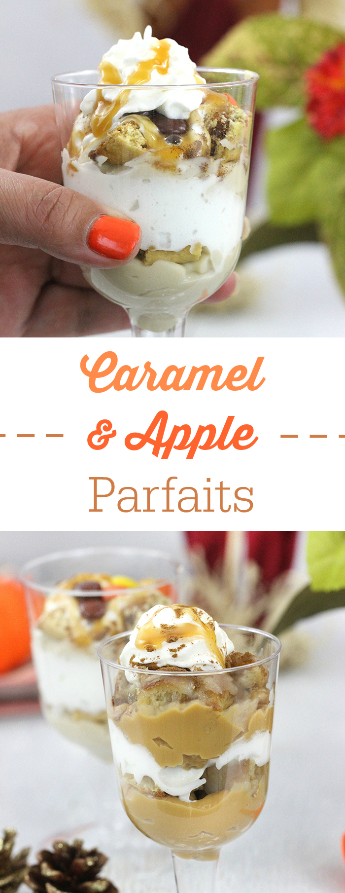 Caramel Apple Parfaits that make for the perfect Harvest Desserts. Simple budget friendly ingredients.