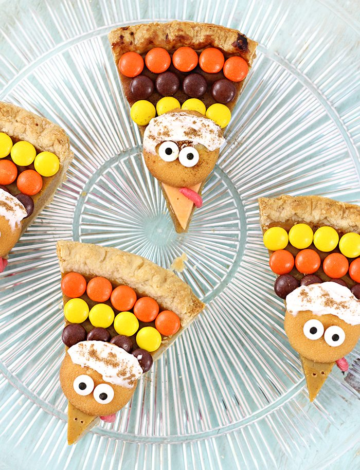 Cute Turkey Pie Slices to Gobble Up with an Amazing Hot Chocolate Ice Cream to sip up.