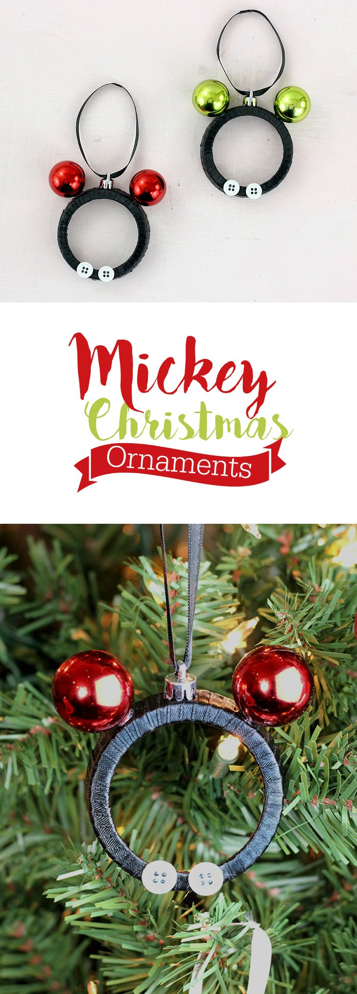 Mickey and Minnie DIY Christmas Ornaments. Make them with Mason Jar Lids. So stinking cute!