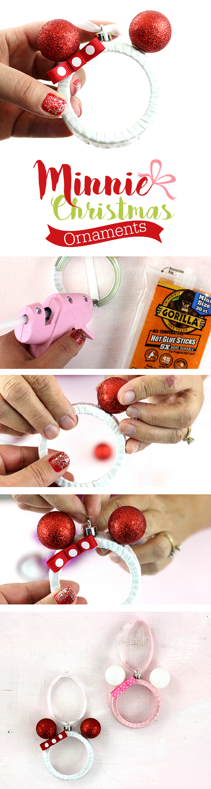 Mickey and Minnie DIY Christmas Ornaments. Make them with Mason Jar Lids. So stinking cute!
