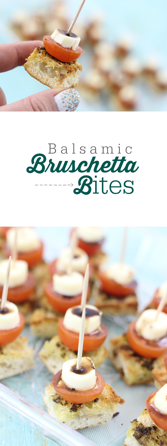 Balsamic Bruschetta Bites. The perfect mouth sized appetizer, perfect for multitasking: eating and watching the big game.