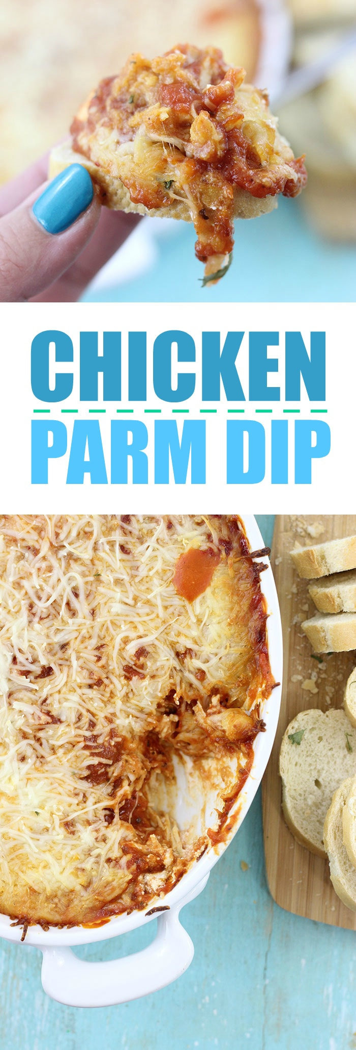 Chicken Parmesan Dip. Click the image to get this cheesy amazingness right now.