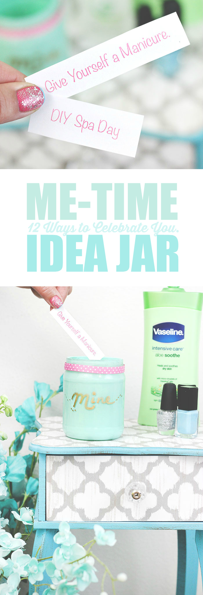 Feeling spent? Remind yourself to enjoy a break with a Me-Time Idea Jar + 12 ideas.