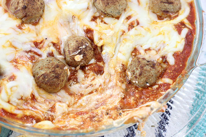 Layered Meatball Party Dip. Delicious oozy layers of cheese and meatballs. YUM.