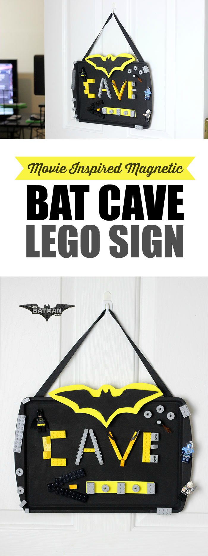 DIY Magnetic LEGO Batman Sign to celebrate upcoming The LEGO Batman Movie on 2/10.