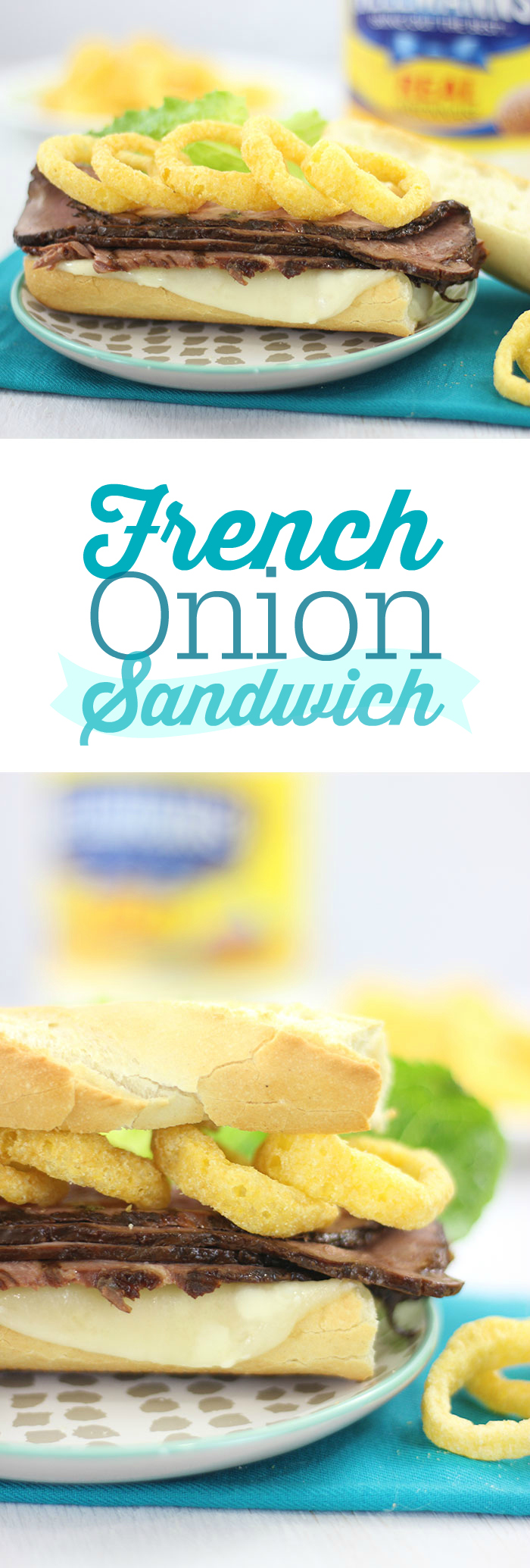 French Onion Sandwich. Click the image for this epic unique idea that you didn't know you were missing. Best served on freshly baked Baguette.