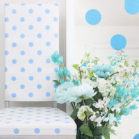 Polka Dot Furniture Makeover. Find out how to upcycle furniture in the cutest way. So easy to bring new life to older pieces.