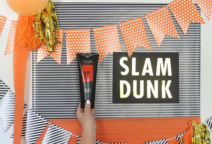 Basketball Party Sign you can make yourself. Slam Dunk. Orange, Black and White Party Theme and Ideas.