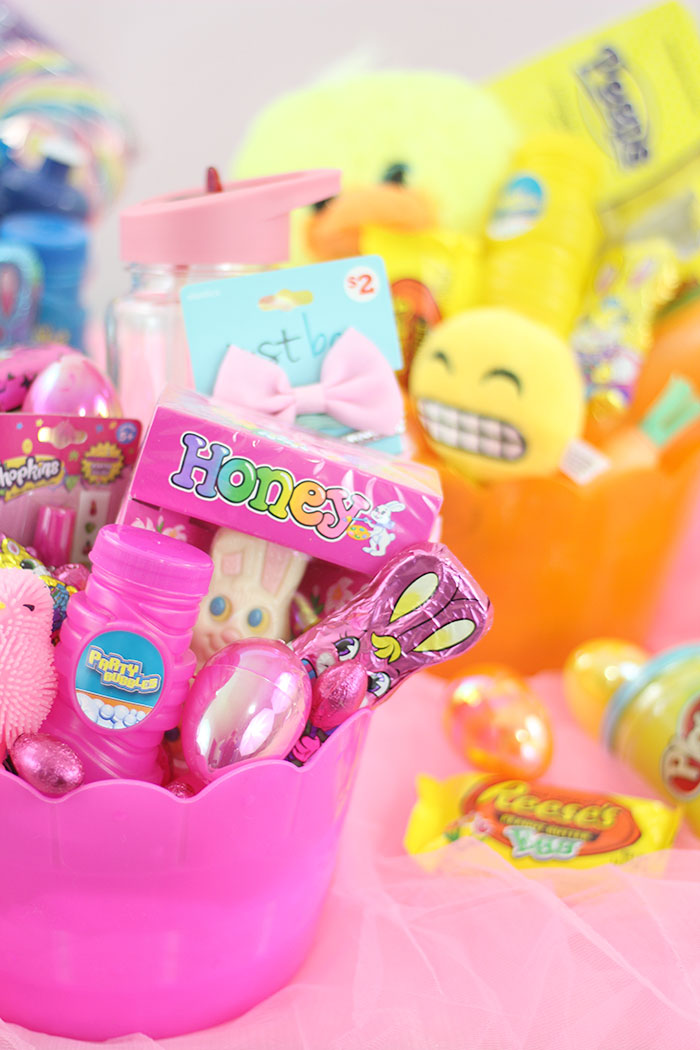 Color Themed Easter Basket Fillers. Pink, Blue, Yellow Orange for the perfect baskets.