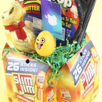 DIY Easter Basket For Men. Use Slim Jim packages and cardboard to make your own basket.