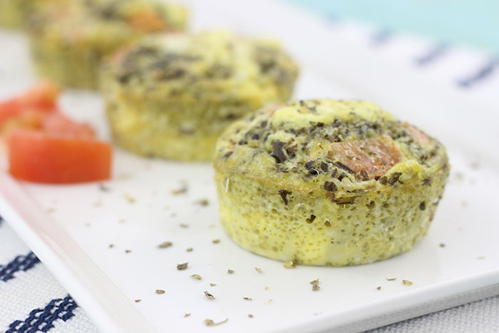 Pesto Omelet Cups. Easy to make with a muffin tin and absolutely delish for breakfast.