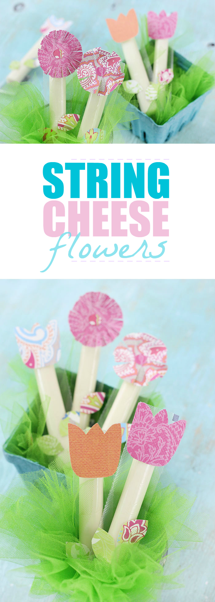 String Cheese Flowers. Click to see how these cute flower treats are made. They'll make snack time extra fun in just minutes.