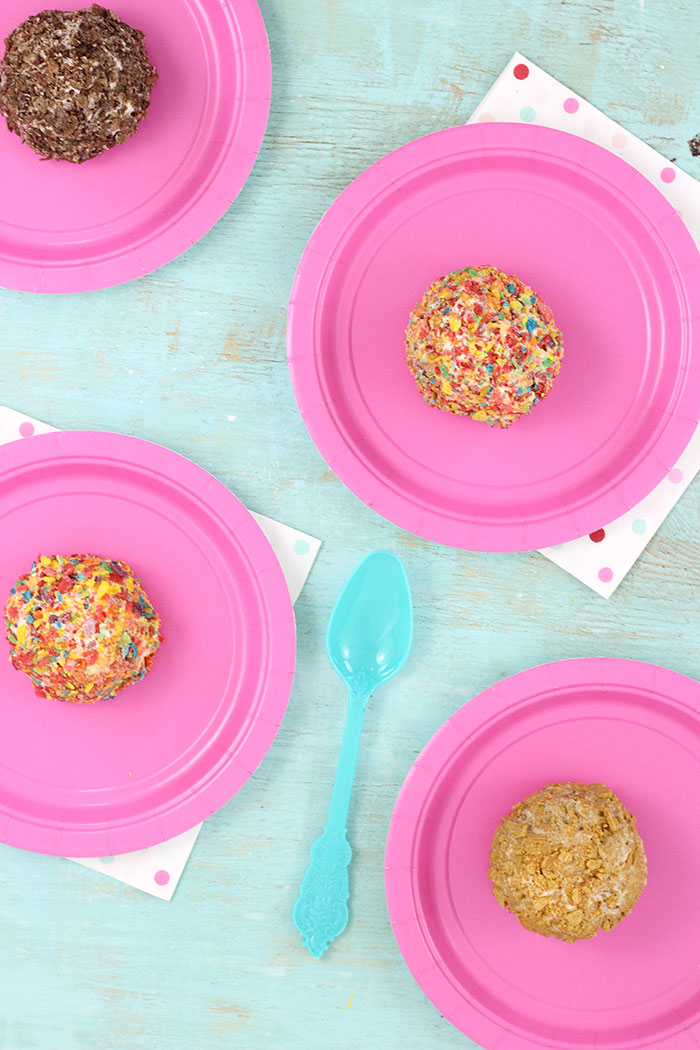 Ice Cream Cereal Treats. Roll your favorite ice cream in crushed cereal for an out of this world easy treat.