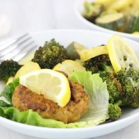 One Pan Crab Cakes and Vegetables