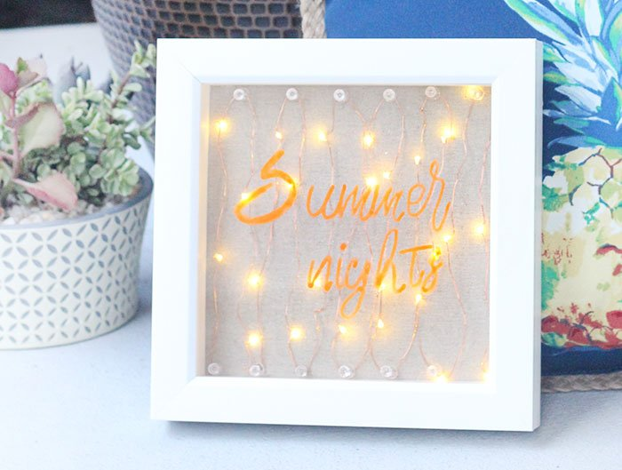 "Light Up Sign DIY. ""Summer Nights"". So easy to make with LED battery lights."