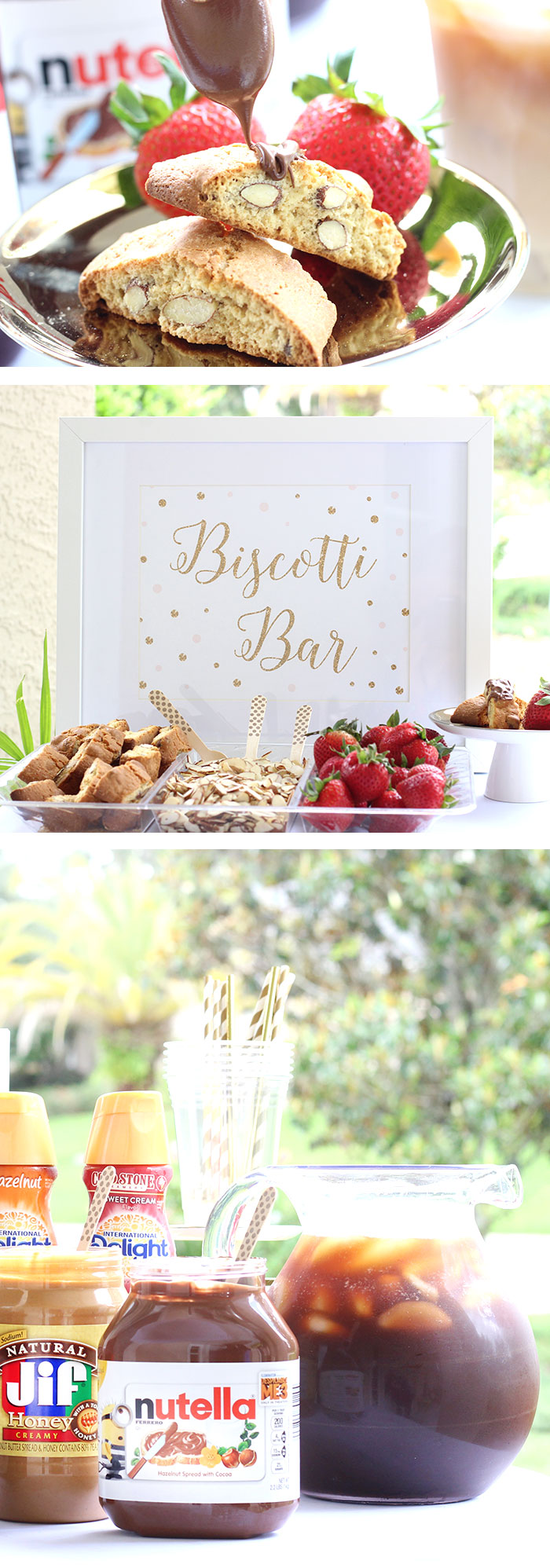 Biscotti Bar. Bored with the same old, too? Check out these savvy biscotti bar ideas with iced coffee fixings too.