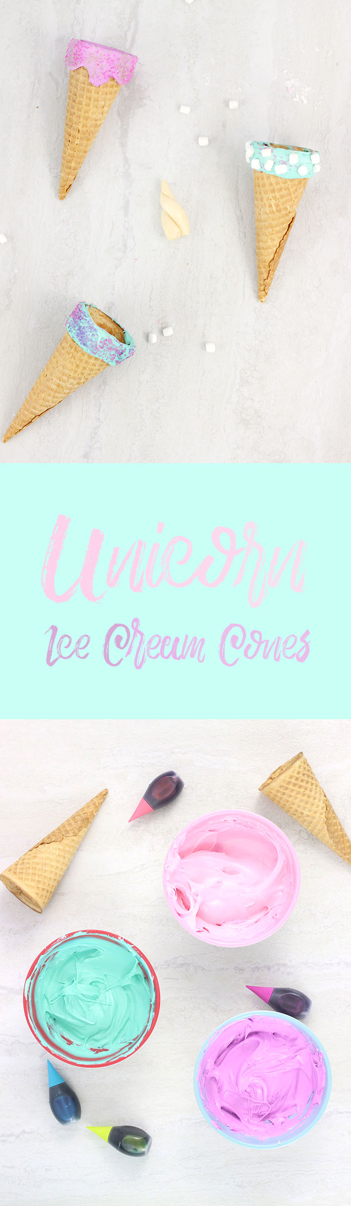Unicorn Ice Cream Cones. Make magical ice cream cones the easy way with frosting.